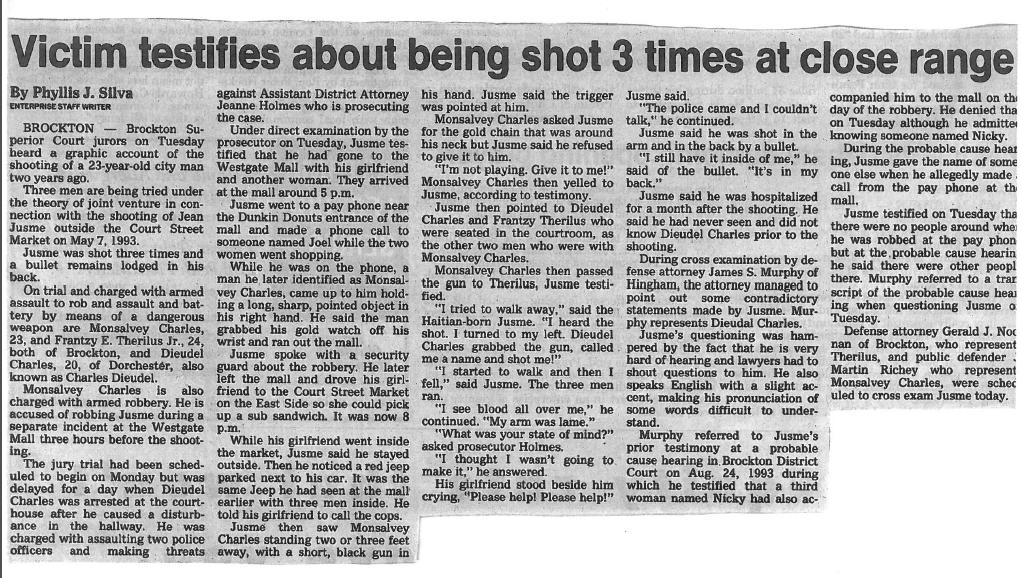 victim testifies about being shot 3 times at close range