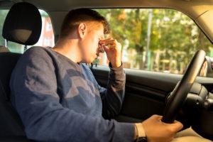 Young Caucasian Driver Falling Asleep Sitting Inside Her Car, Ru
