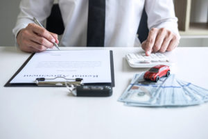 Man Client Calculating Insurance Premium For Decide Signing Rent